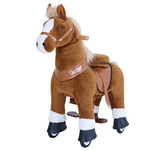 PonyCycle Offizielle Klassisch Modell U Reiten auf Pferd Spielzeug Plüsch Lauftier Braunes Pferd mit...