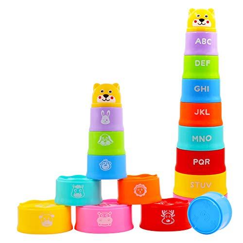 AGAKY 9 Stück Stapelbecher Baby 6 Monate, Stapel Tasse Spielzeug zum Sortieren und Stapeln,...