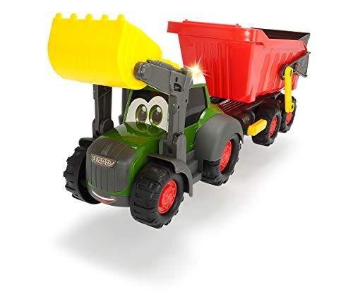 Dickie Toys 203819002 Happy Farm Trailer, Fendt Spielzeugtraktor mit Anhänger, Licht und Sound Effekten,...