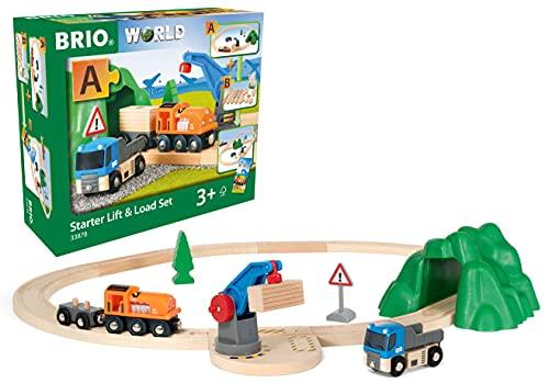 BRIO World 33878 - Starterset Güterzug mit Kran - Der ideale Einstieg in die BRIO Holzeisenbahn -...
