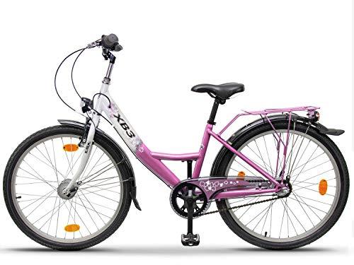 XB3 24 Zoll Mädchen-Kinder-Fahrrad Shimano Nabendynamo, 3 Gang Nabenschaltung, Rücktrittbremse,...