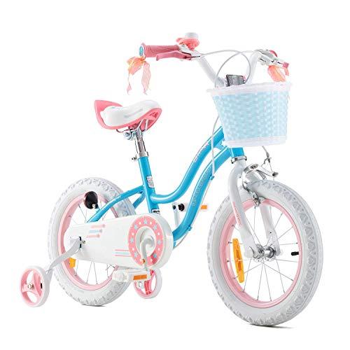 RoyalBaby Kinderfahrrad Mädchen Stargirl Fahrrad Stützräder Laufrad Kinder Fahrrad 18 Zoll Blau