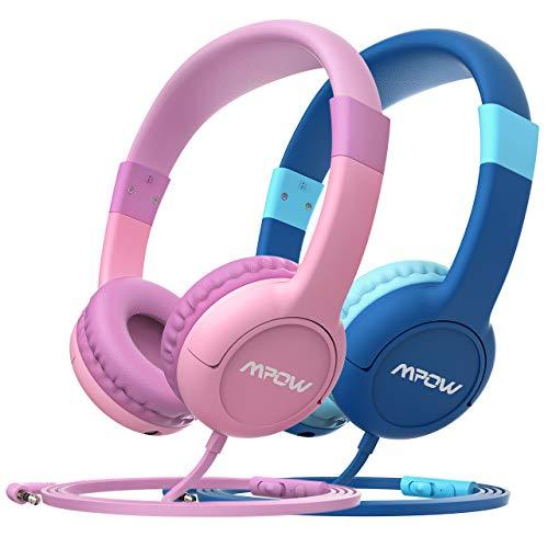 Mpow Kopfhörer Kinder CH1S 2 Stück Kopfhörer für Kinder mit Lautstärke- und Mikrofonsteuerung, 85dB...