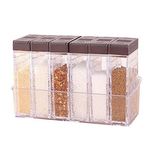 nuosen 6er Set Salz- und Pfefferstreuer Gewürzbox Kunststoff Camping Gewürzbox für Aufbewahrung Küche...