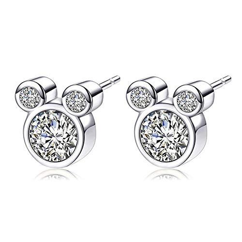 Epoch World Damen Ohrringe 925 Sterling Silber Ohrstecker Maus Ohrringe Stecker mit Zirkonias Silber...