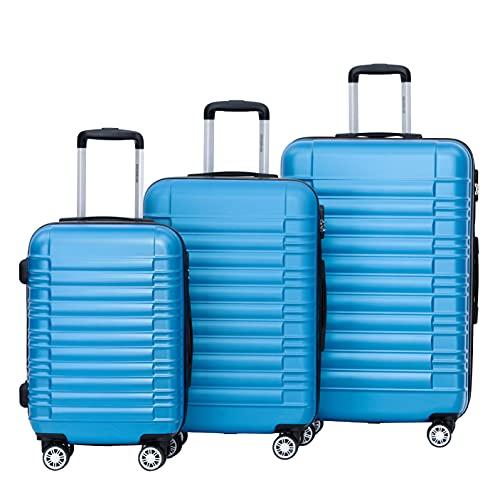 BEIBYE Zwillingsrollen Reisekoffer Koffer Trolleys Hartschale M-L-XL-Set (Turquoise, Set)