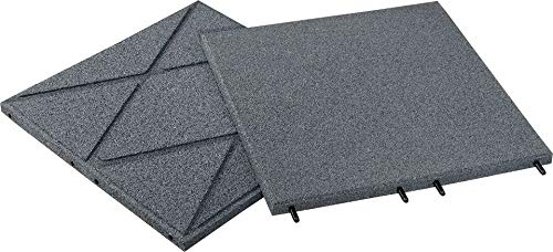Qualitäts Fallschutzmatte 500x500x30mm in Grau aus Gummi-Recyclinggranulat inkl. Steckverbinder