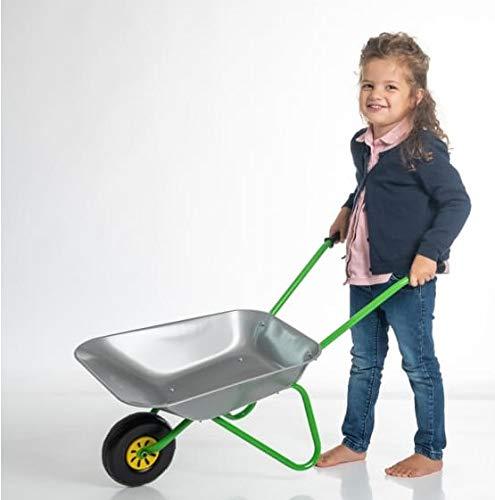 OA Rolly Toys Metallschubkarre silber/grün Kinderschubkarre (für Kinder ab 2 Jahre, Metallschüssel,...