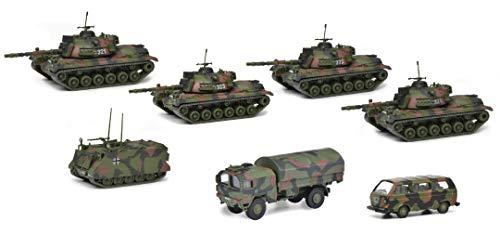 Schuco 452643300 - Set Panzerkompanie, 4x M48G, 1x M113, 1x MAN 5t GL, 1x VW Bus T3, Modellauto Set, 1:87