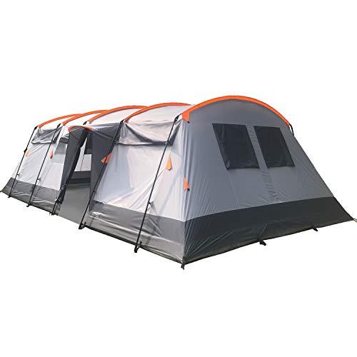 Skandika Tunnelzelt Hurricane für 12 Personen   Großes Zelt mit 2 Schlafkabinen, mit/ohne eingenähtem...