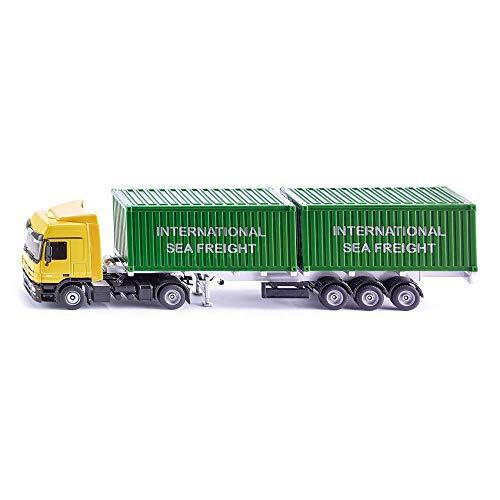 siku 3921, LKW mit Container, 1:50, Metall/Kunststoff, Gelb/Grün, Inkl. 2 Container, Variierbare...