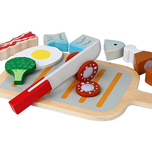 B&Julian® Holz Schneiden Spielzeug Lebensmittel BBQ Grill Set mit Schneidebrett Küchenspielzeug für...