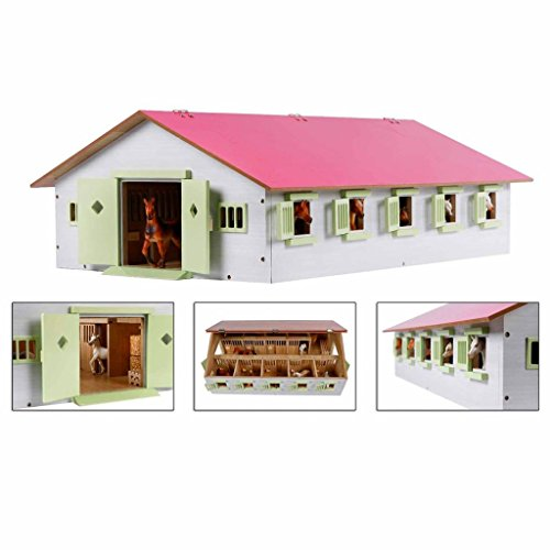 Van Manen Kids Globe Farming Reiterhof 1:32, Bauernhof mit 9 Pferdeboxen, Pferdehof aus Holz, mit...