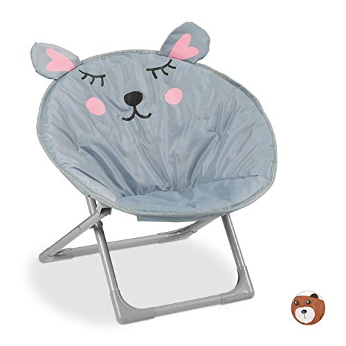 Relaxdays Moonchair Kinder, klappbarer Mondstuhl In-& Outdoor, Kinderklappsessel, Maus, HxBxT: 51,5 x 51...