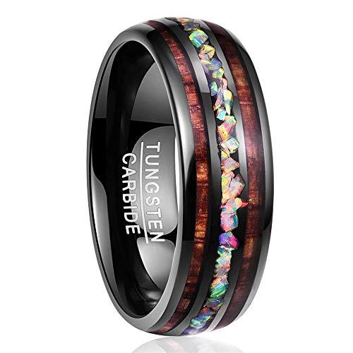 NUNCAD Wolfram Ring Herren Damen Unisex 8mm Schwarz mit Opal & Koa Holz für Hochzeit Verlobung Geschenk...