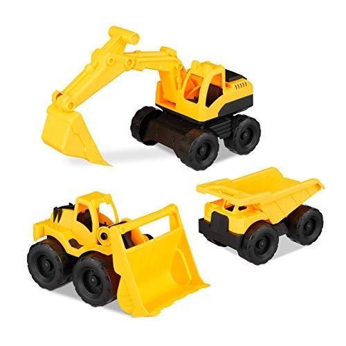 Relaxdays 10023916 Spielzeug Baufahrzeuge, 3er Set mit Bagger, Frontlader & LKW, für Sandkasten &...