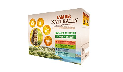 IAMS Naturally Land & Sea Collection in Sauce – Vollwertiges Nassfutter für erwachsene Katzen von 1-6...