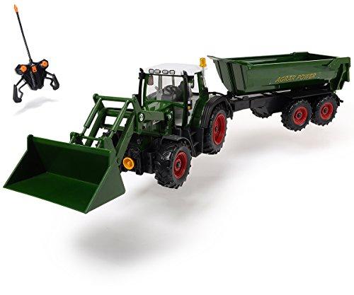 Dickie Toys 201119266 - RC Farmer Set, funkferngesteuerter Traktor mit Anhänger inklusive Batterien, 60...