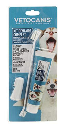 Vetocanis Zahnhygiene-Set für Hunde, 3-fach Aktionen, mit Zahnbürste, Zahnpasta und Massagebürste,...
