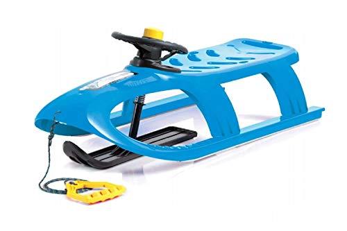 Schlitten Kinderschlitten Kunststoffschlitten blau aus Kunststoff inkl. Lenkrad mit Hupe, Zugseil...