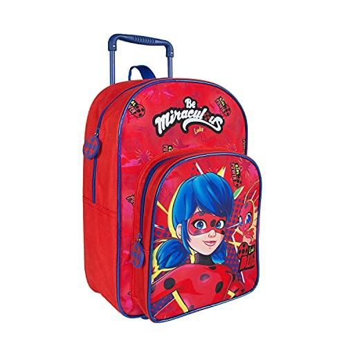 PERLETTI Miraculous Ladybug Kinderrucksack mit Abnehmbaren Rollen - Rollrucksack Rot für Kleine Mädchen...