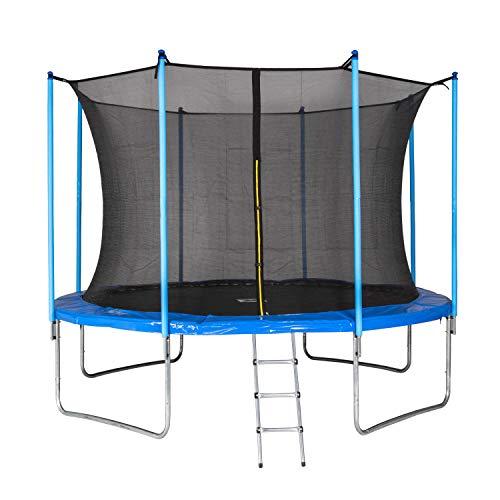 MotionXperts Outdoor Trampolin 366 cm blau mit innenliegendem Netz, gepolsterten Stangen & Leiter,...