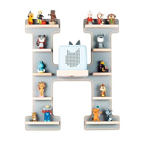 BOARTI Kinder Regal Buchstabe H in Grau - geeignet für die Toniebox und ca. 48 Tonies - zum Spielen und...