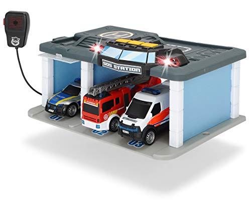 Dickie Toys SOS Rettungsstation mit Polizei, Feuerwehr und Krankenwagen, Station mit Licht & Sound,...