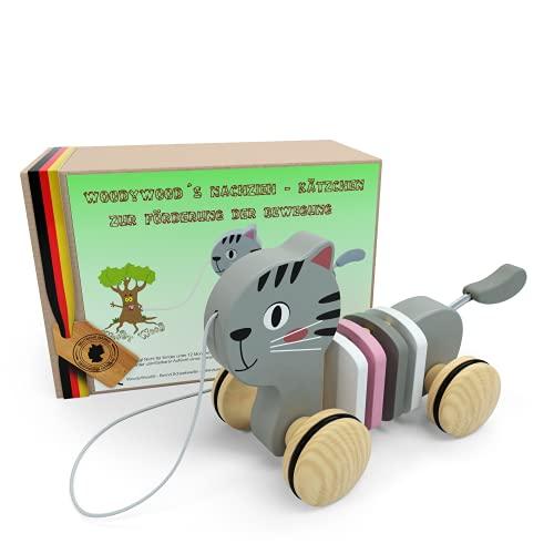 WoodyWood® Nachziehspielzeug Katze, Holzspielzeug für Babys und Kinder, Kinderspielzeug ab 1 Jahr zum...