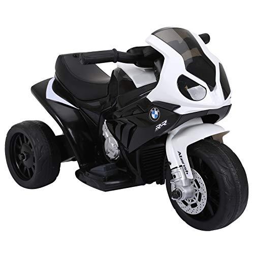 HOMCOM Elektro Kindermotorrad Kinderfahrzeug Lizensiert von BMW S1000RR Elektro-Dreirad mit Akku Stahl...