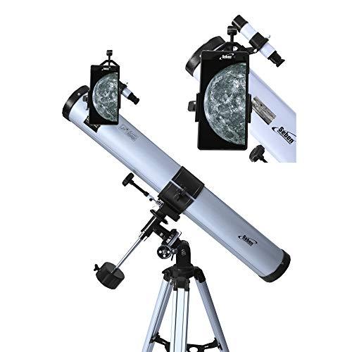 Seben Teleskop 76/900 EQ-2 - Spiegelteleskop für die Astronomie inkl. Smartphone Adapter, Montierung,...