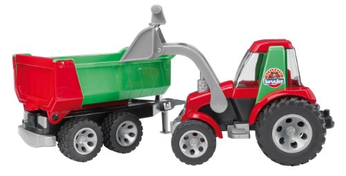 Bruder 3338036 ROADMAX Traktor mit Frontlader und Kippanhänger