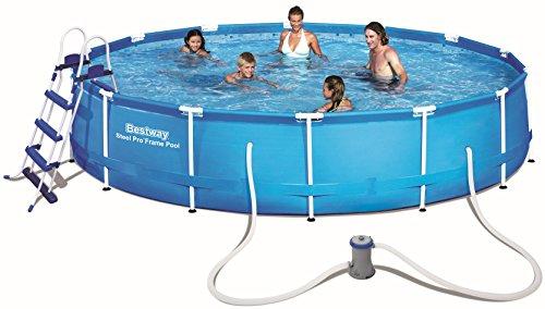 Bestway Steel Pro Frame Pool Set mit Filterpumpe + Zubehör, 457 X 91cm