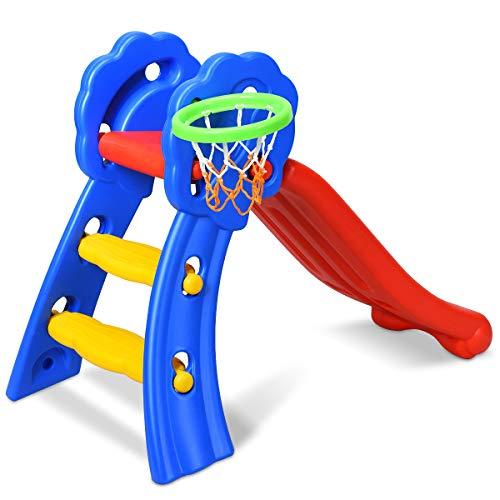 COSTWAY Kinder Rutsche mit Basketballkorb, Rutschbahn klappbar, Kinderrutsche, Gartenrutsche,...