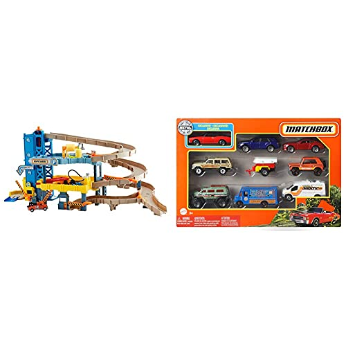 4-stöckige Matchbox-Garage - Set mit Fahrzeugen