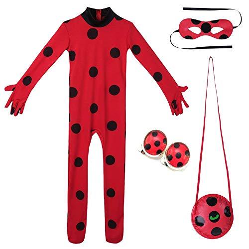 Yigoo Ladybug Mädchen Marienkäfer Kostüm Kinder Halloween Karneval Overall Party Cosplay 3er Set -...