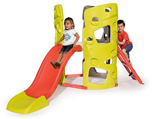 Smoby Abenteuer-Kletterturm mit Rutsche Spielturm für Kinder, mit Kletterwänden und Wasserrutsche für...