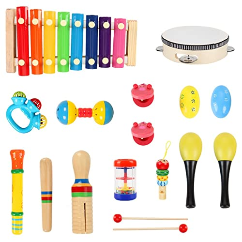 HassoKon Baby Musikinstrumente, 20 Stück Schlagzeug Kinder Holz Percussion Set Musik Kinderspielzeug,...