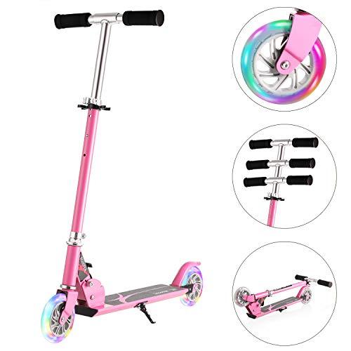WeSkate Tretroller für Kinder mit 2 Leuchträder,Höhenverstellbar Klappbar Tragbar Roller Scooter für...