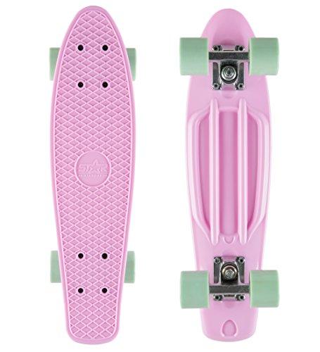 BIKESTAR Vintage Retro Cruiser Skateboard 60mm für Kinder und Erwachsene auch Anfänger ab ca. 6-8 Jahre...