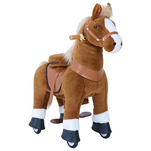 PonyCycle Offizielle Klassisch Modell U 2021 Reiten auf Pferd Spielzeug Plüsch Lauftier Braunes Pferd...