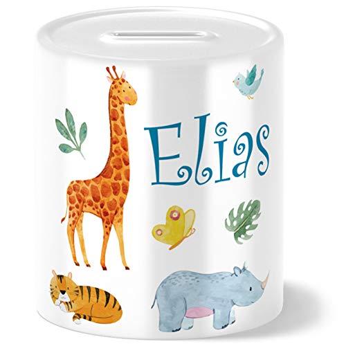 Safari Tiere Kinder Spardose Personalisiert mit Namen Geschenke Geschenkideen für Kinder Baby Junge...