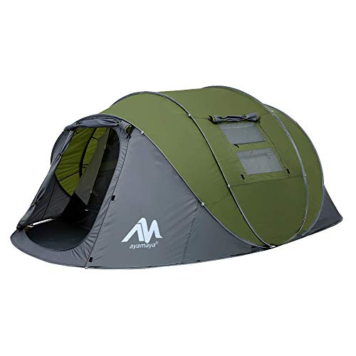 Zelt 4-6 Personen Wasserdicht, Pop up Zelte Familienzelt [5 Fenster] Riesiges Camping Zelt Doppelwandig...