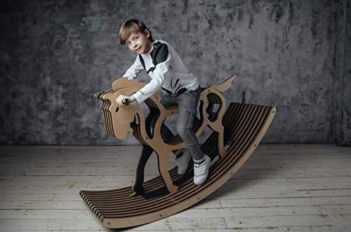 Sweety Toys 11223 Schaukelpferd Holz XXL Pferd Mustang 162 cm Dunkelbraun- hochwertiges Designer...