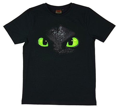DreamWorks Dragons Kinder T-Shirt Ohnezahn Toothless (140-146, schwarz)
