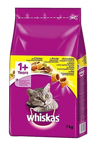 Whiskas Katzenfutter Trockenfutter Adult 1+ mit Huhn, 1 Beutel (1 x 7kg)