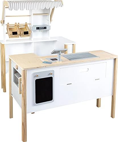 small foot 11436 Kaufladen Multifunktion 'fresh' aus Holz, mit Zubehör und als Küche verwendbar, ab 3...