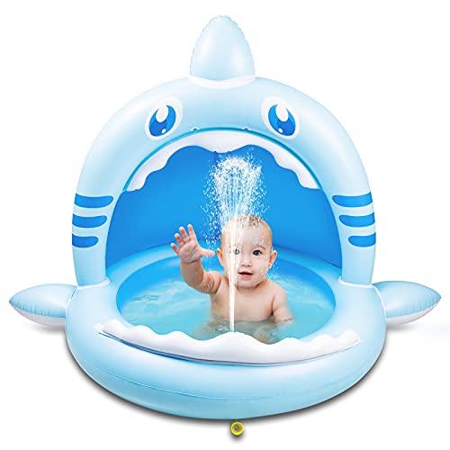 Weokeey Planschbecken für Kinder, Hai Baby Pool mit Sonnenschutz Dach Baby Planschbecken mit Wasserspray...