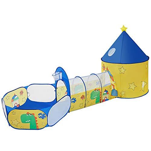 SONGMICS 3-in-1 Spielzelt, Pop-up, mit Tunnel, Bällebad, Basketballkorb, für Kinder, für innen und...
