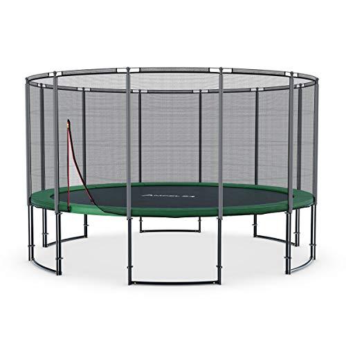 Ampel 24 Deluxe Outdoor Trampolin 430 cm komplett mit Außennetz, Belastbarkeit 160 kg, Sicherheitsnetz...